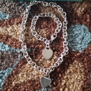 Tiffany heart tag necklace and bracelet